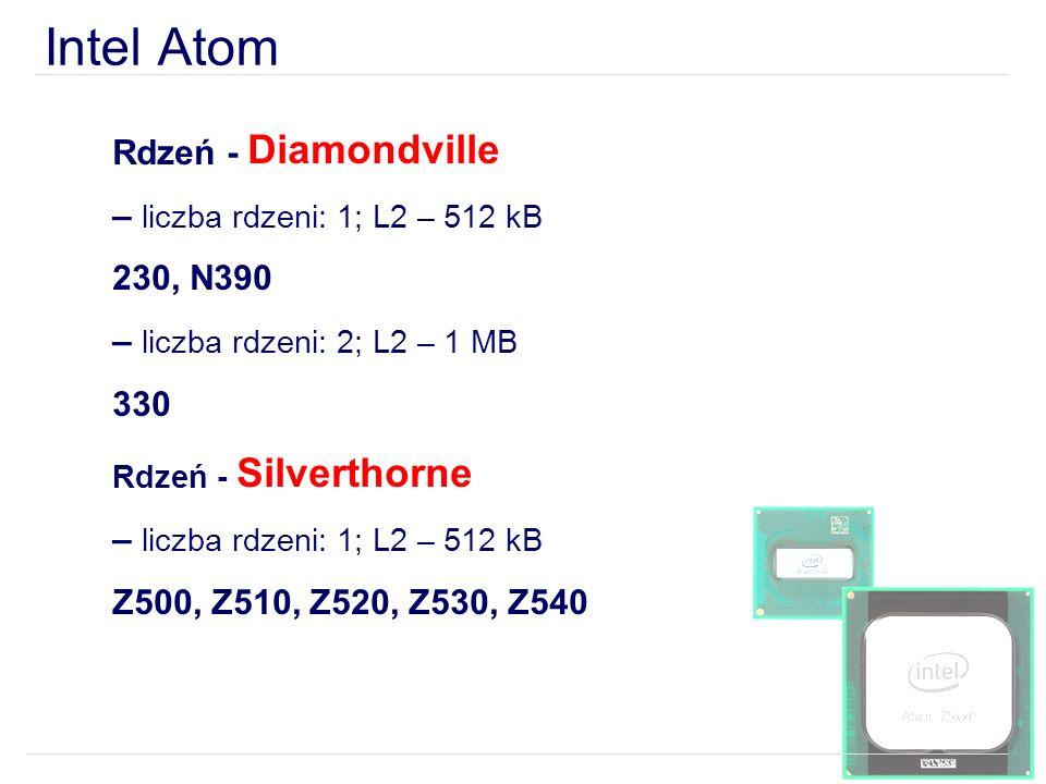 Intel Atom Rdzeń - Diamondville – liczba rdzeni: 1; L2 – 512 kB