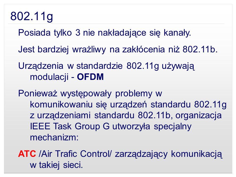 802.11g Posiada tylko 3 nie nakładające się kanały.