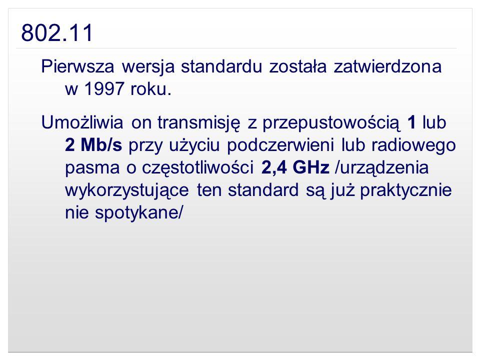 802.11 Pierwsza wersja standardu została zatwierdzona w 1997 roku.