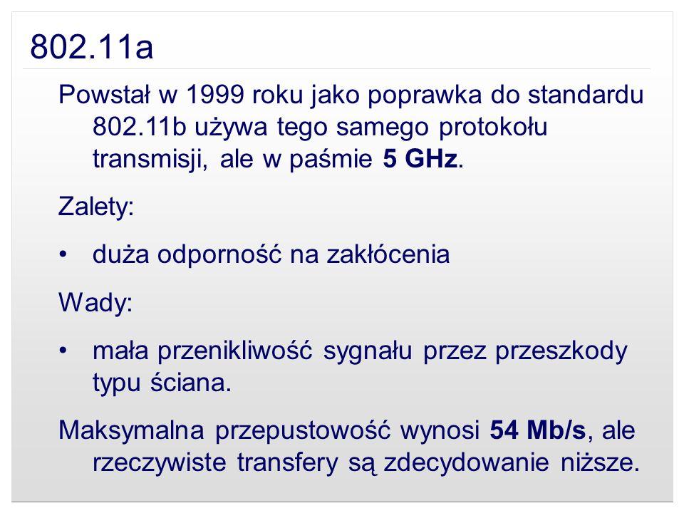 802.11a Powstał w 1999 roku jako poprawka do standardu 802.11b używa tego samego protokołu transmisji, ale w paśmie 5 GHz.
