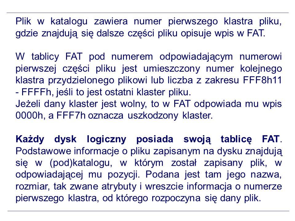 Plik w katalogu zawiera numer pierwszego klastra pliku, gdzie znajdują się dalsze części pliku opisuje wpis w FAT.