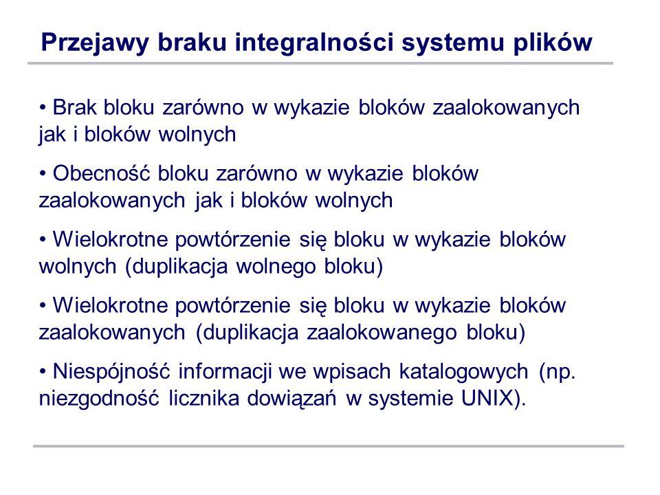 Przejawy braku integralności systemu plików
