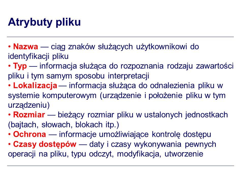 Atrybuty pliku Nazwa — ciąg znaków służących użytkownikowi do identyfikacji pliku.