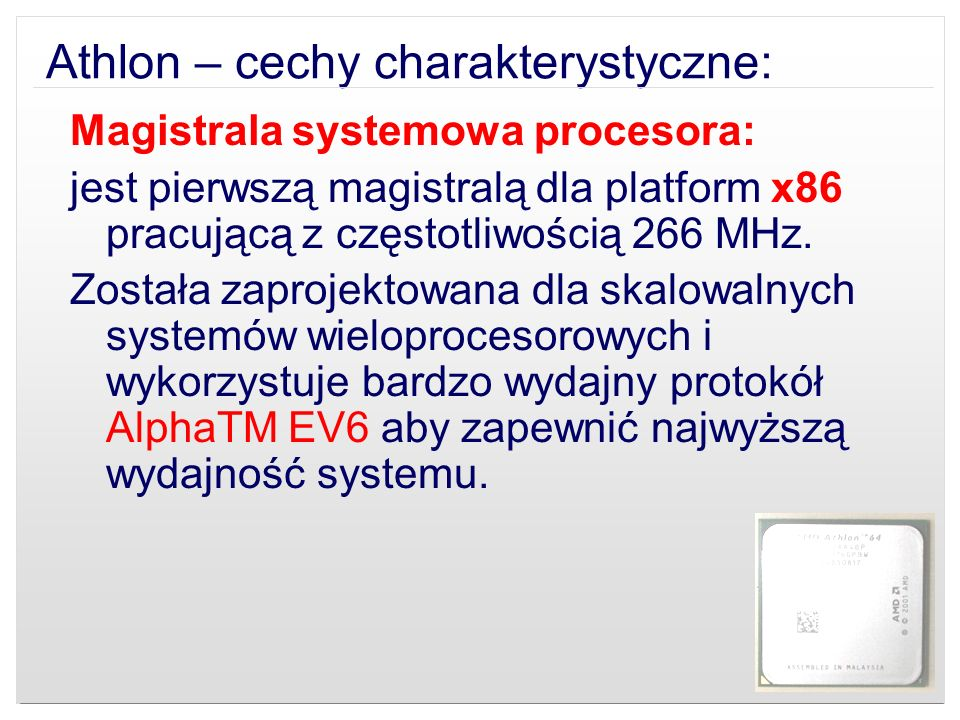 Athlon – cechy charakterystyczne: