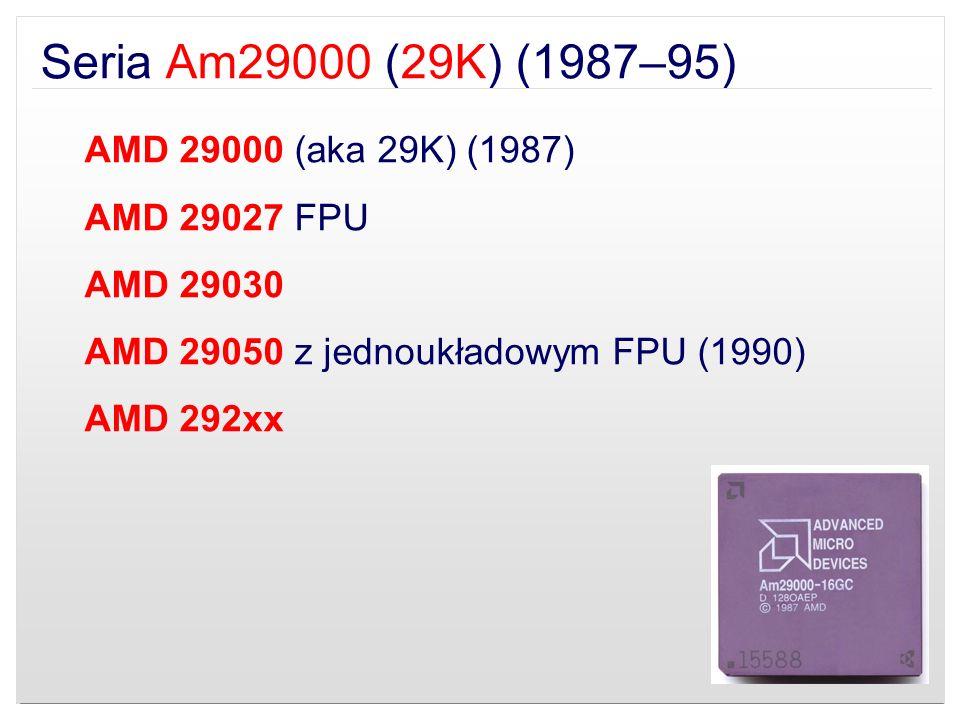Seria Am29000 (29K) (1987–95) AMD 29000 (aka 29K) (1987) AMD 29027 FPU