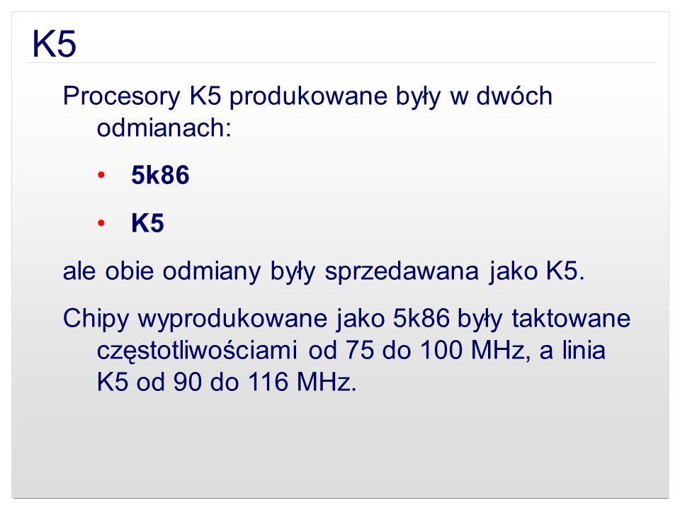 K5 Procesory K5 produkowane były w dwóch odmianach: 5k86 K5
