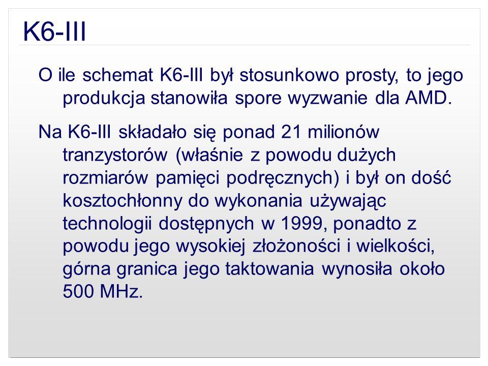 K6-IIIO ile schemat K6-III był stosunkowo prosty, to jego produkcja stanowiła spore wyzwanie dla AMD.