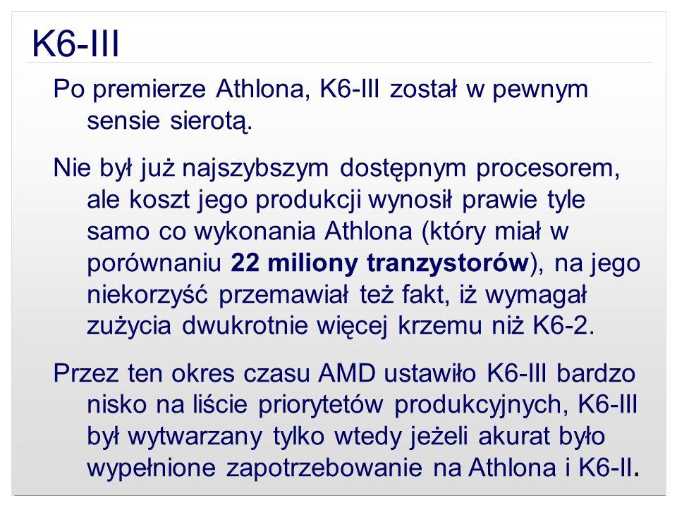 K6-III Po premierze Athlona, K6-III został w pewnym sensie sierotą.