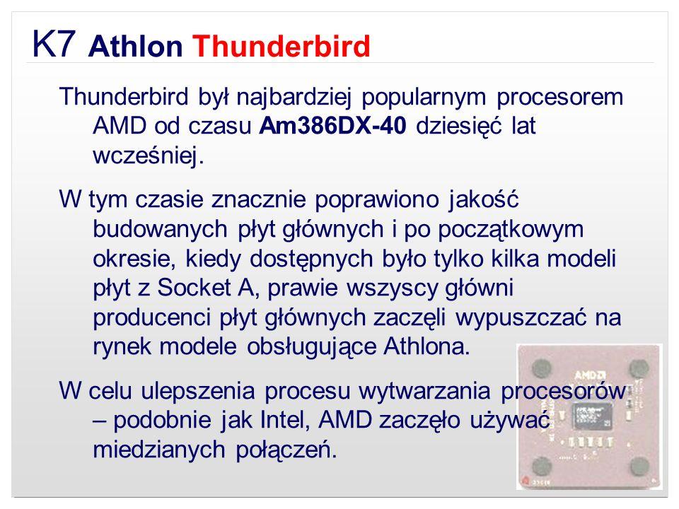 K7 Athlon Thunderbird Thunderbird był najbardziej popularnym procesorem AMD od czasu Am386DX-40 dziesięć lat wcześniej.