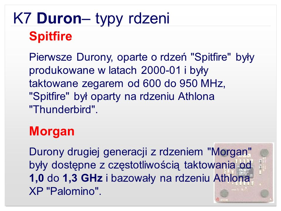 K7 Duron– typy rdzeni Spitfire Morgan