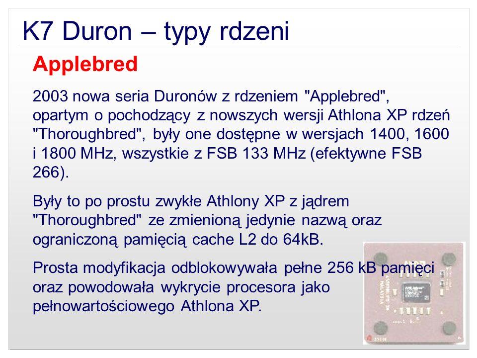 K7 Duron – typy rdzeni Applebred