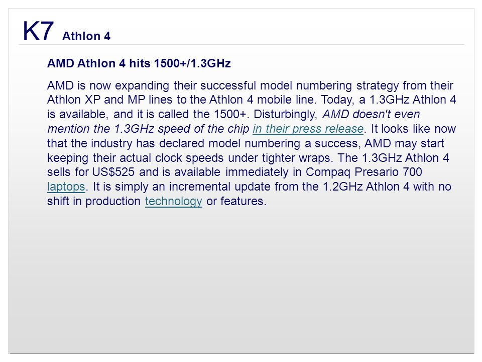 K7 Athlon 4 AMD Athlon 4 hits 1500+/1.3GHz