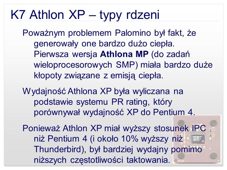 K7 Athlon XP – typy rdzeni
