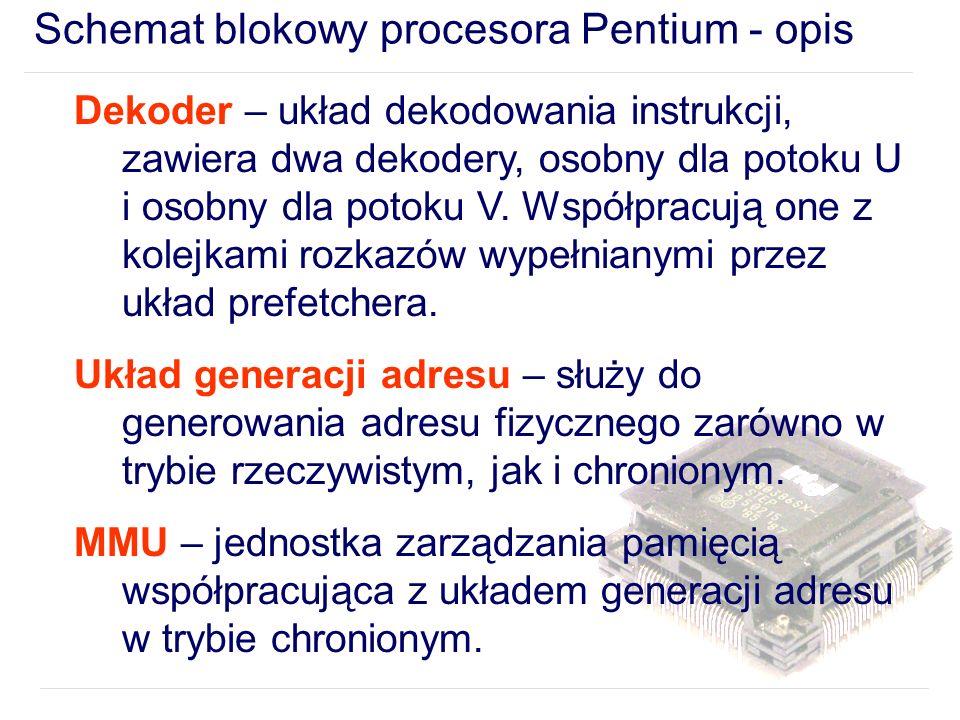 Schemat blokowy procesora Pentium - opis