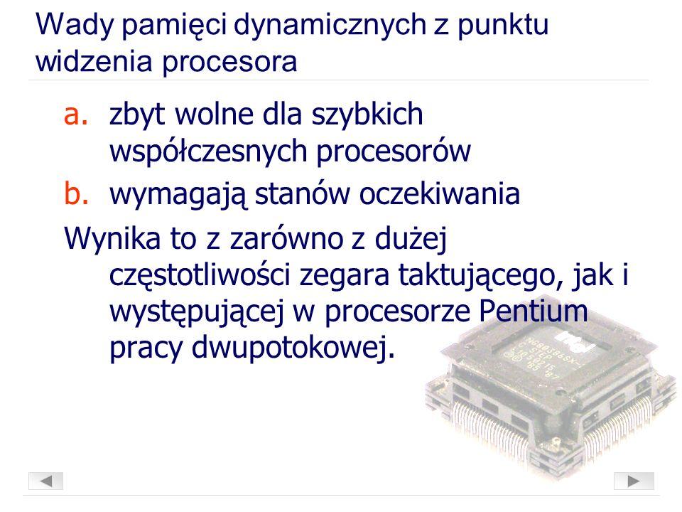 Wady pamięci dynamicznych z punktu widzenia procesora