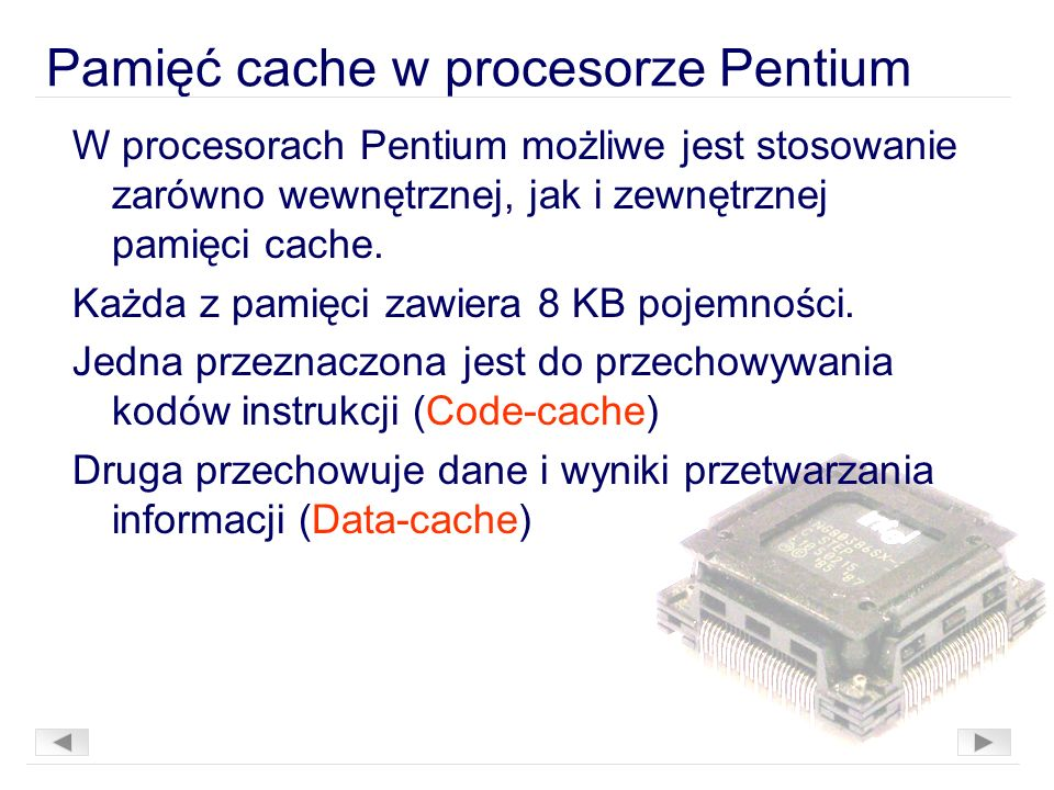 Pamięć cache w procesorze Pentium