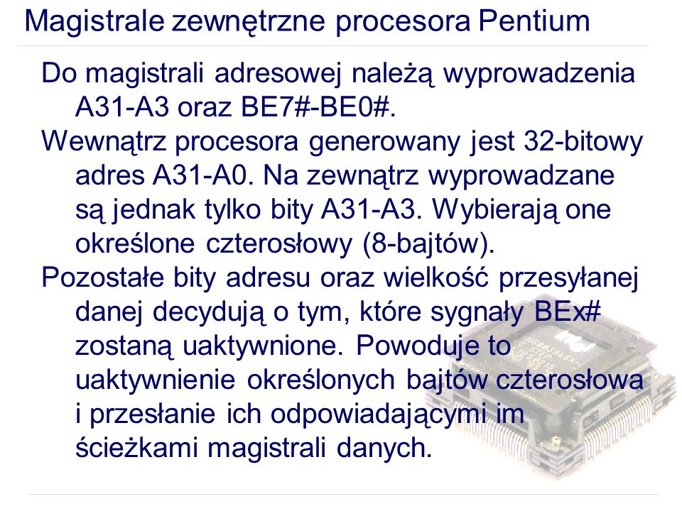 Magistrale zewnętrzne procesora Pentium