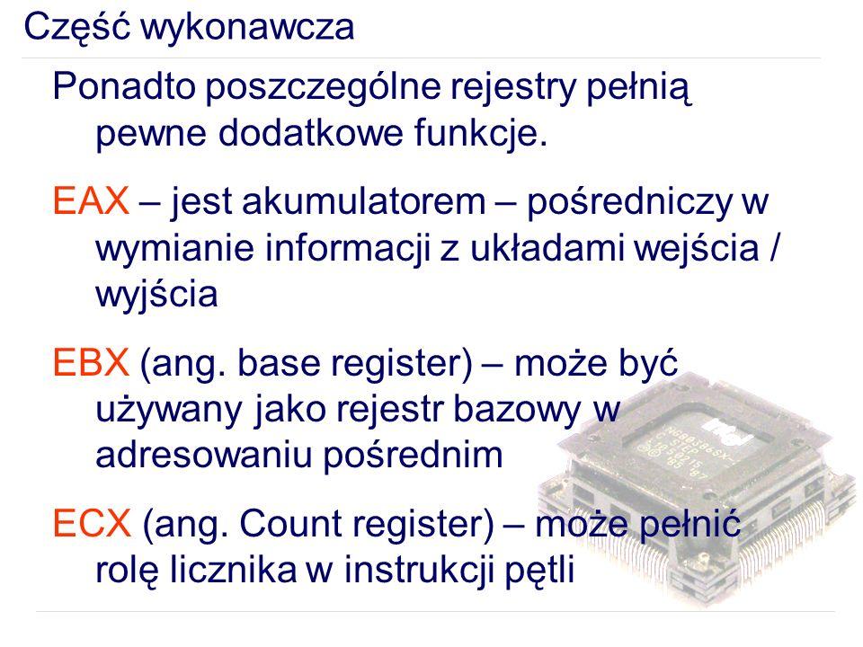 Część wykonawcza Ponadto poszczególne rejestry pełnią pewne dodatkowe funkcje.