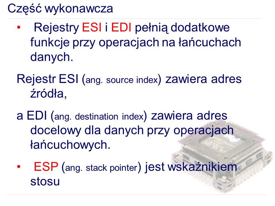 Część wykonawcza Rejestry ESI i EDI pełnią dodatkowe funkcje przy operacjach na łańcuchach danych.