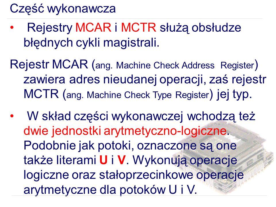 Część wykonawcza Rejestry MCAR i MCTR służą obsłudze błędnych cykli magistrali.