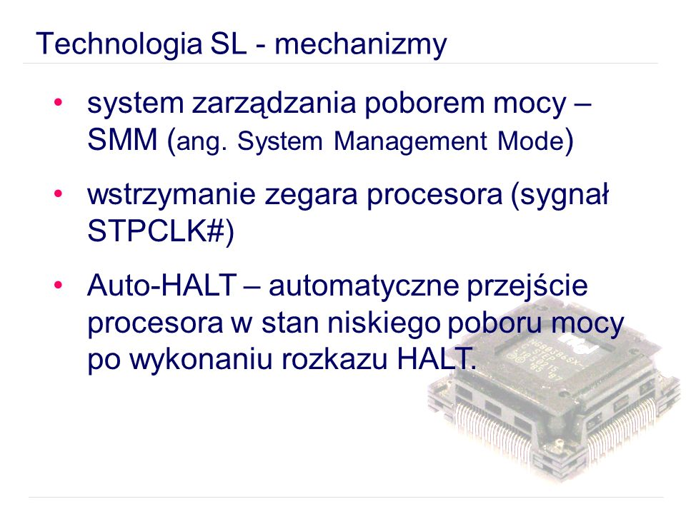Technologia SL - mechanizmy