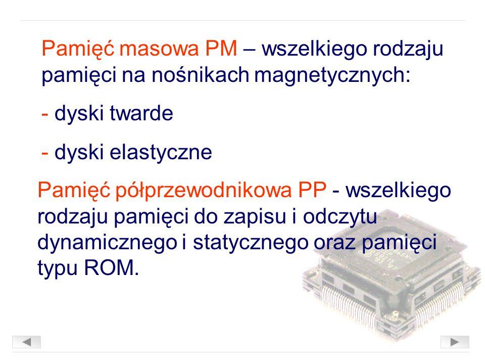 Pamięć masowa PM – wszelkiego rodzaju pamięci na nośnikach magnetycznych: