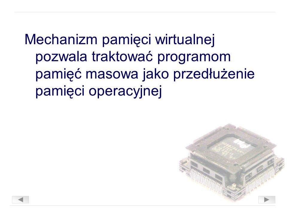 Mechanizm pamięci wirtualnej pozwala traktować programom pamięć masowa jako przedłużenie pamięci operacyjnej