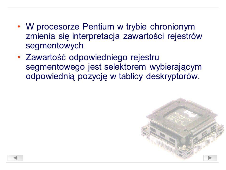 W procesorze Pentium w trybie chronionym zmienia się interpretacja zawartości rejestrów segmentowych