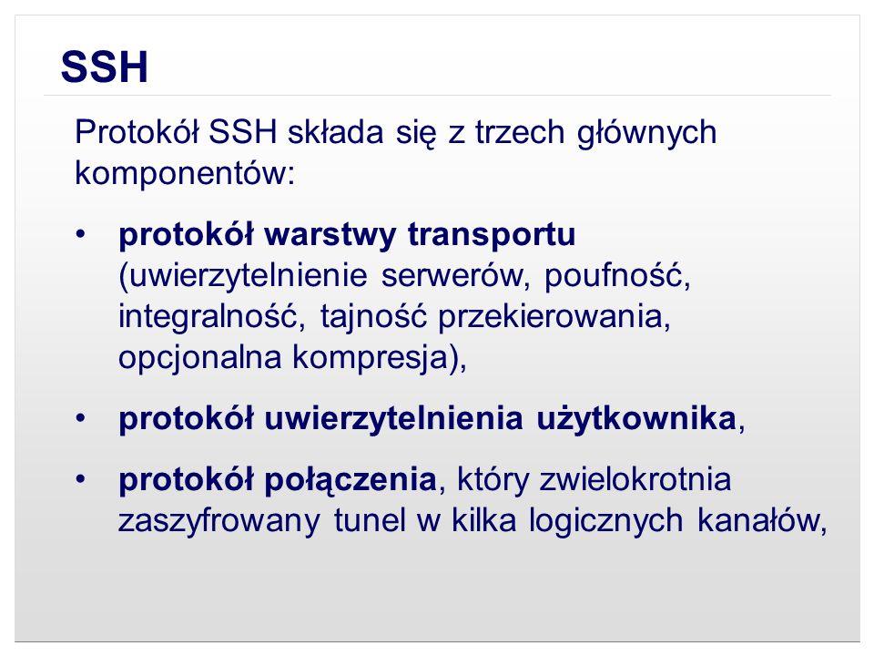 SSH Protokół SSH składa się z trzech głównych komponentów: