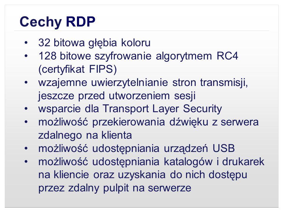 Cechy RDP 32 bitowa głębia koloru
