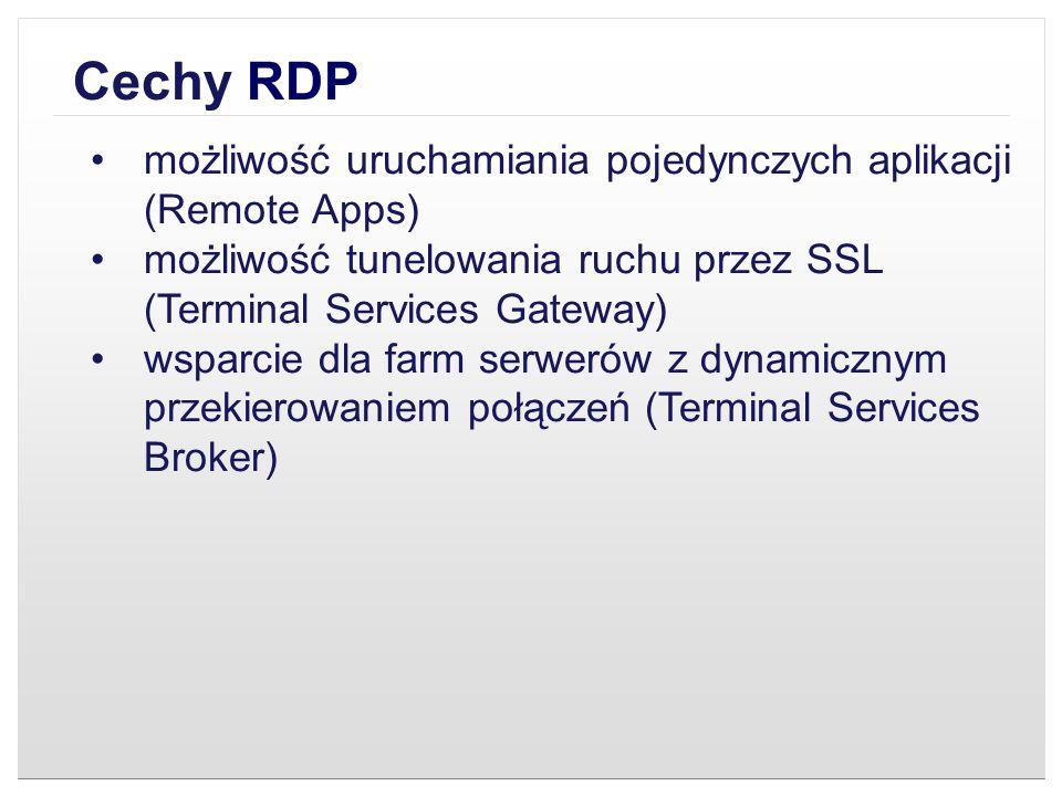 Cechy RDP możliwość uruchamiania pojedynczych aplikacji (Remote Apps)