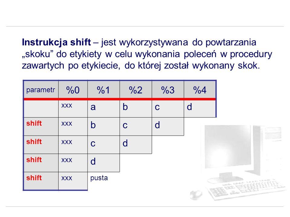 """Instrukcja shift – jest wykorzystywana do powtarzania """"skoku do etykiety w celu wykonania poleceń w procedury zawartych po etykiecie, do której został wykonany skok."""