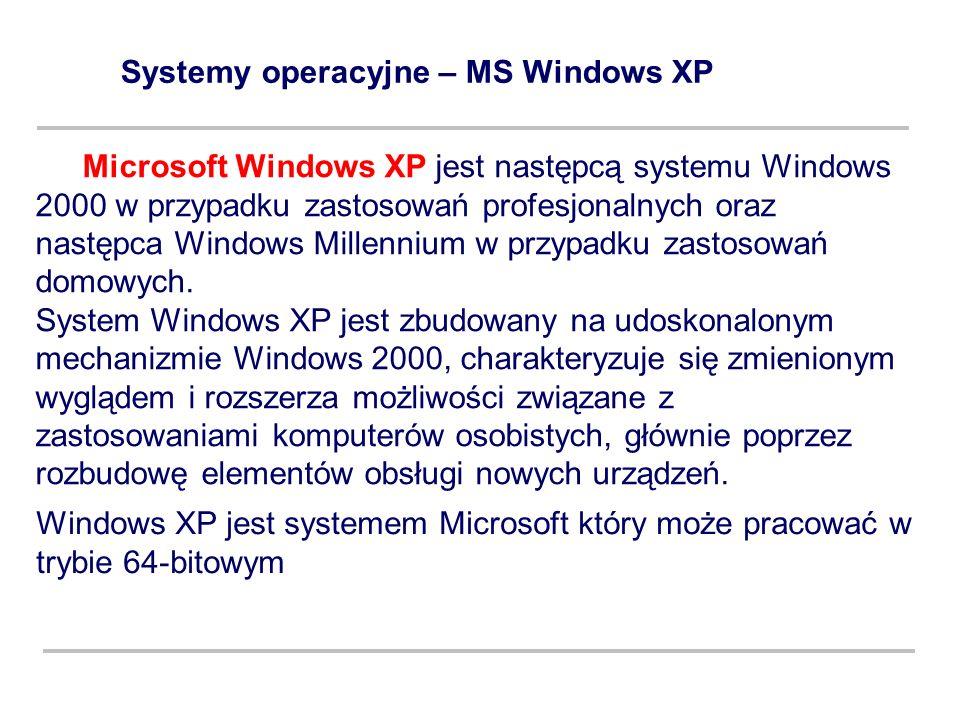 Systemy operacyjne – MS Windows XP