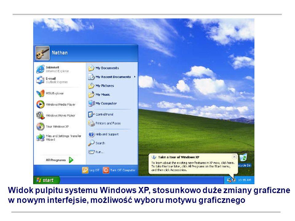 Widok pulpitu systemu Windows XP, stosunkowo duże zmiany graficzne w nowym interfejsie, możliwość wyboru motywu graficznego