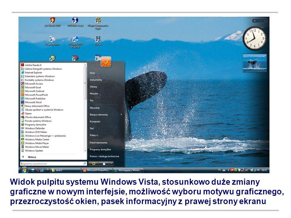 Widok pulpitu systemu Windows Vista, stosunkowo duże zmiany graficzne w nowym interfejsie, możliwość wyboru motywu graficznego, przezroczystość okien, pasek informacyjny z prawej strony ekranu