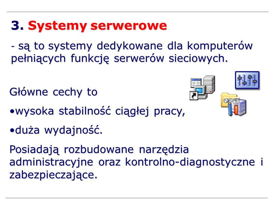 3. Systemy serwerowe Główne cechy to wysoka stabilność ciągłej pracy,