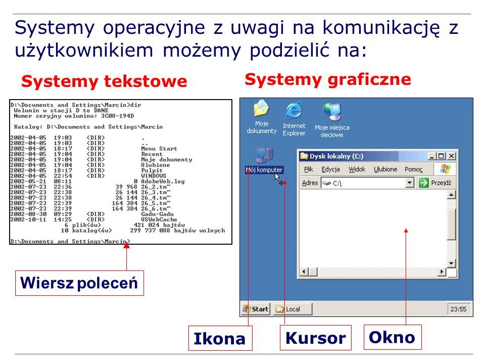 Systemy operacyjne z uwagi na komunikację z użytkownikiem możemy podzielić na: