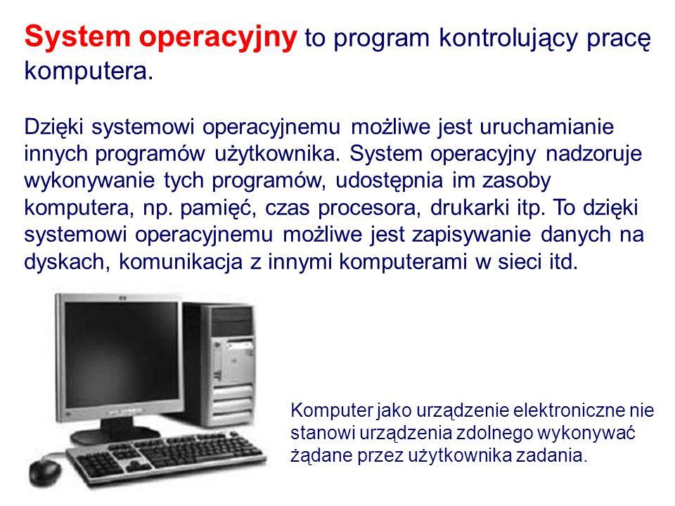 System operacyjny to program kontrolujący pracę komputera