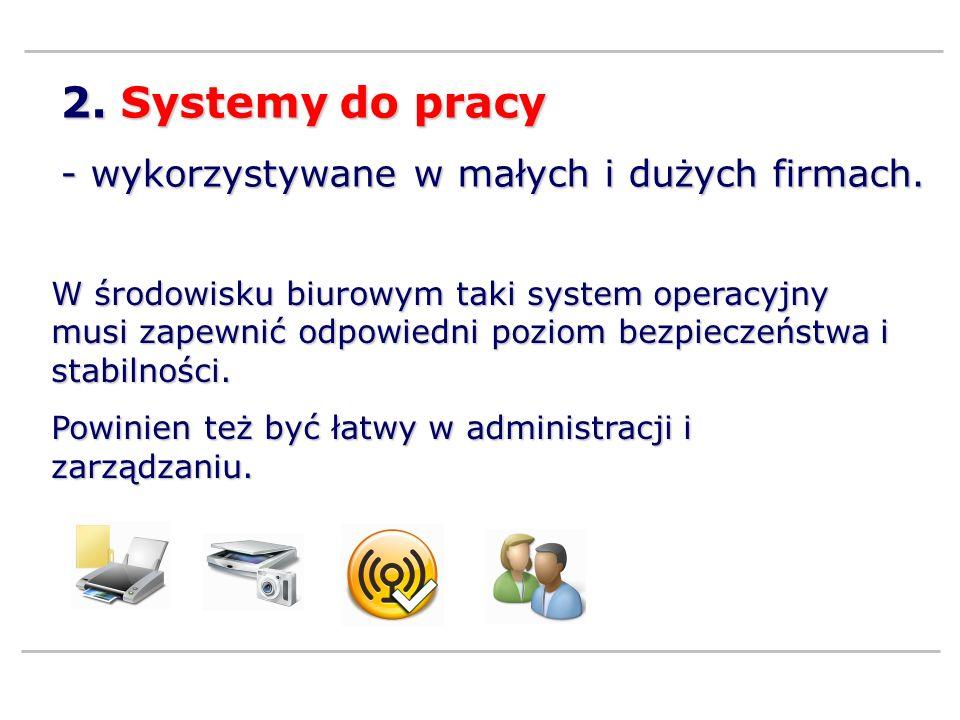 2. Systemy do pracy - wykorzystywane w małych i dużych firmach.
