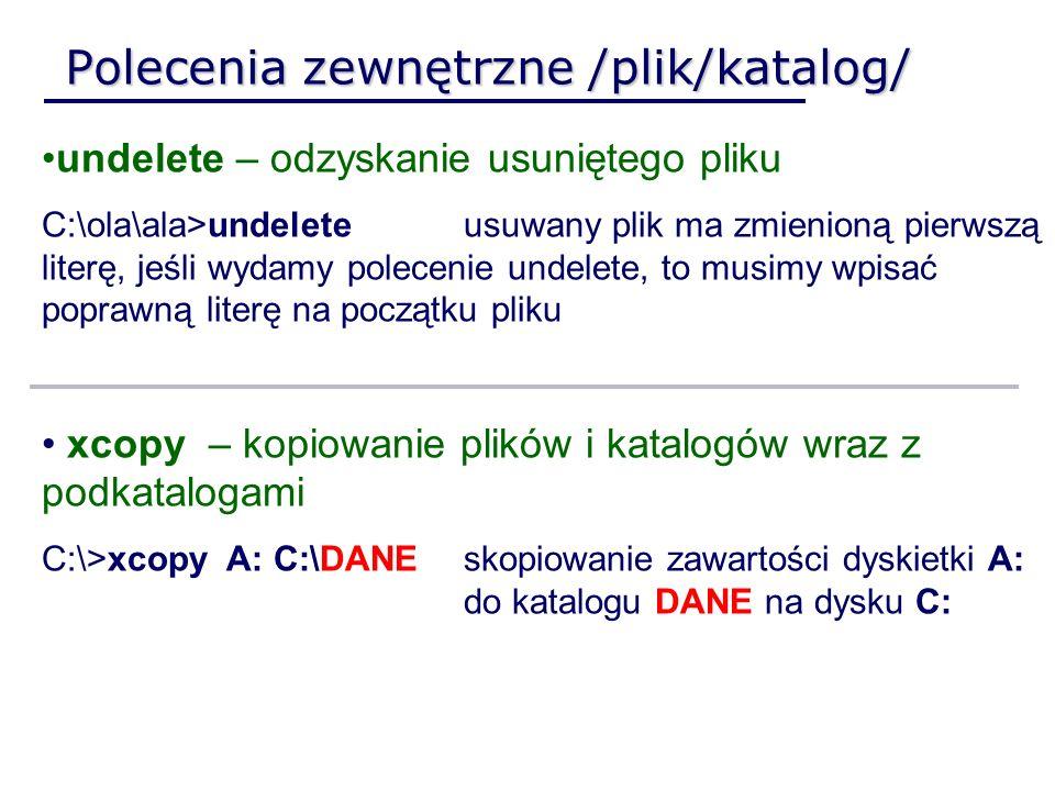 Polecenia zewnętrzne /plik/katalog/