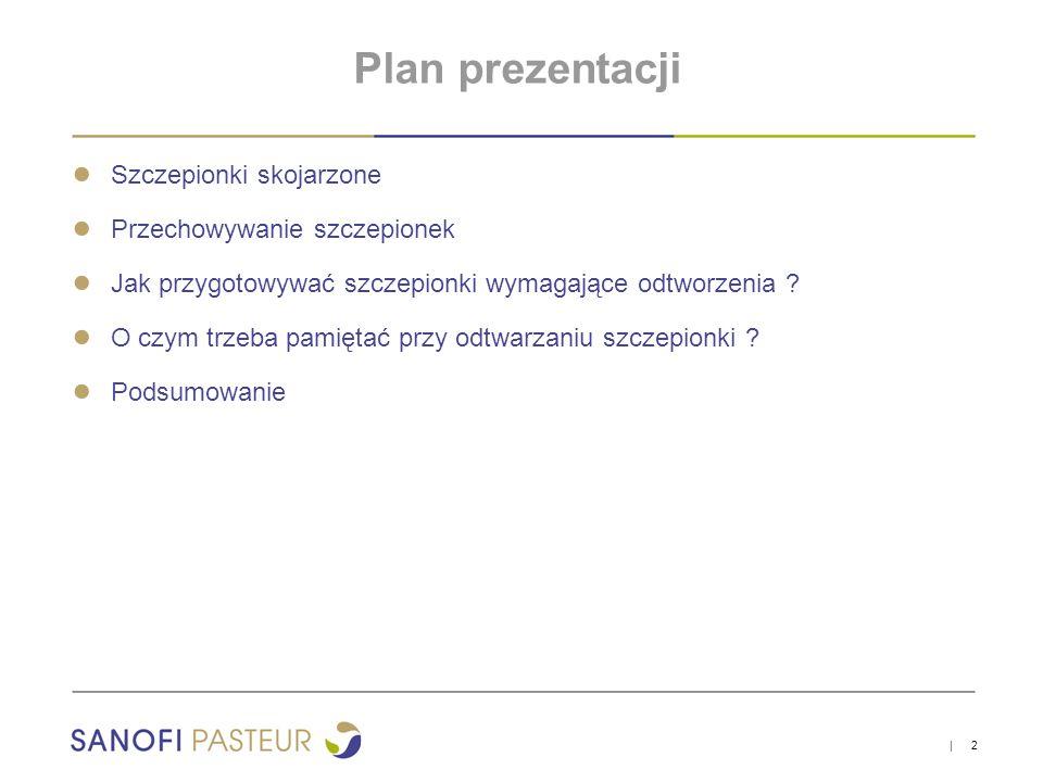 Plan prezentacji Szczepionki skojarzone Przechowywanie szczepionek