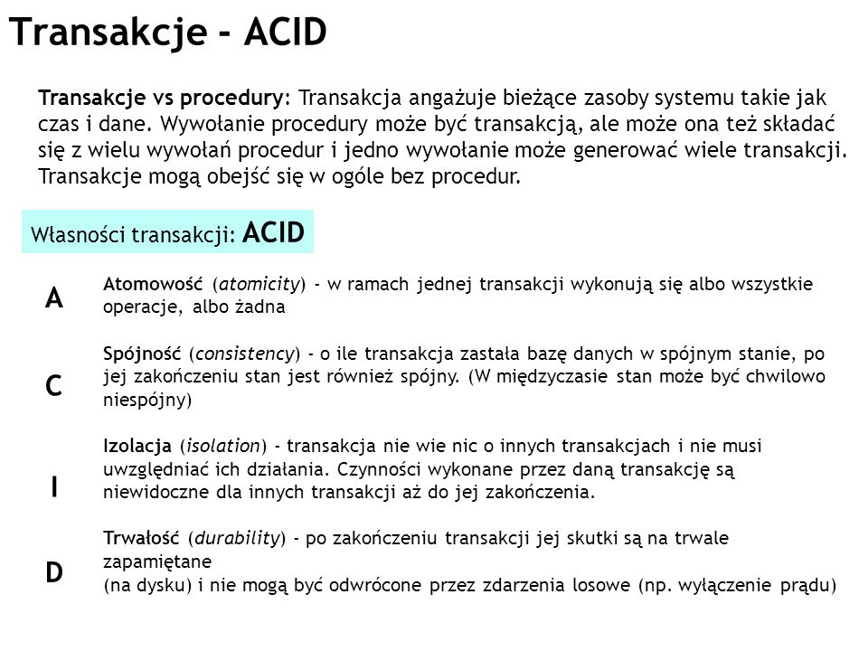 Transakcje - ACID
