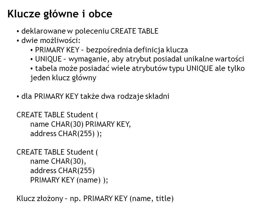 Klucze główne i obce deklarowane w poleceniu CREATE TABLE