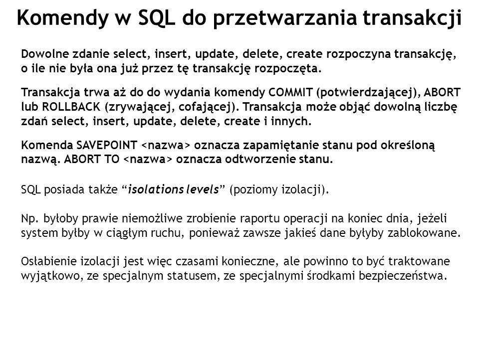 Komendy w SQL do przetwarzania transakcji