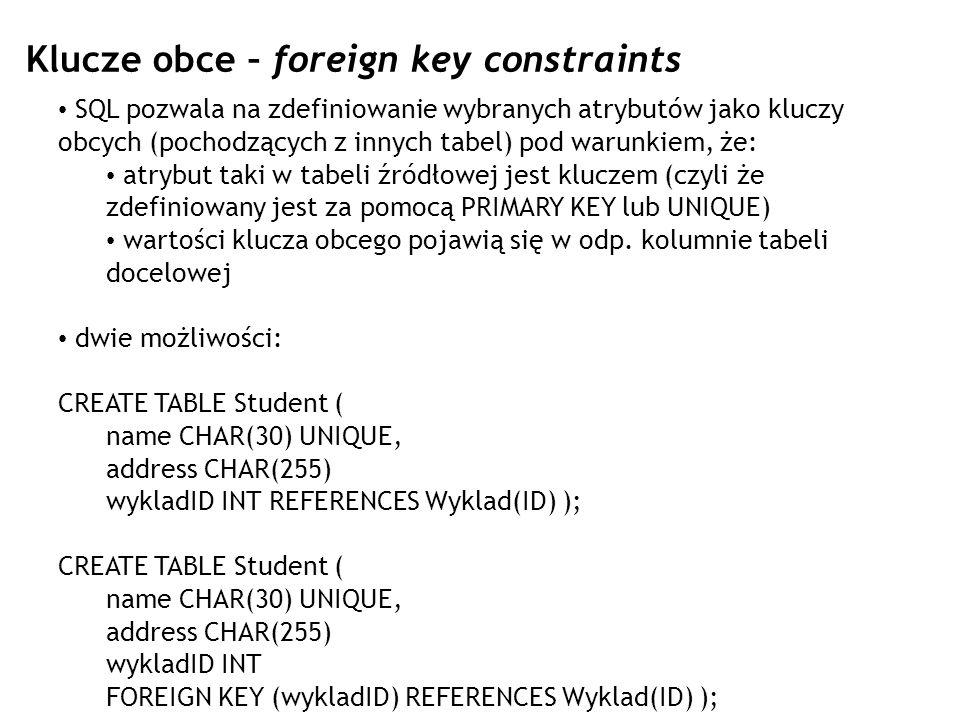 Klucze obce – foreign key constraints