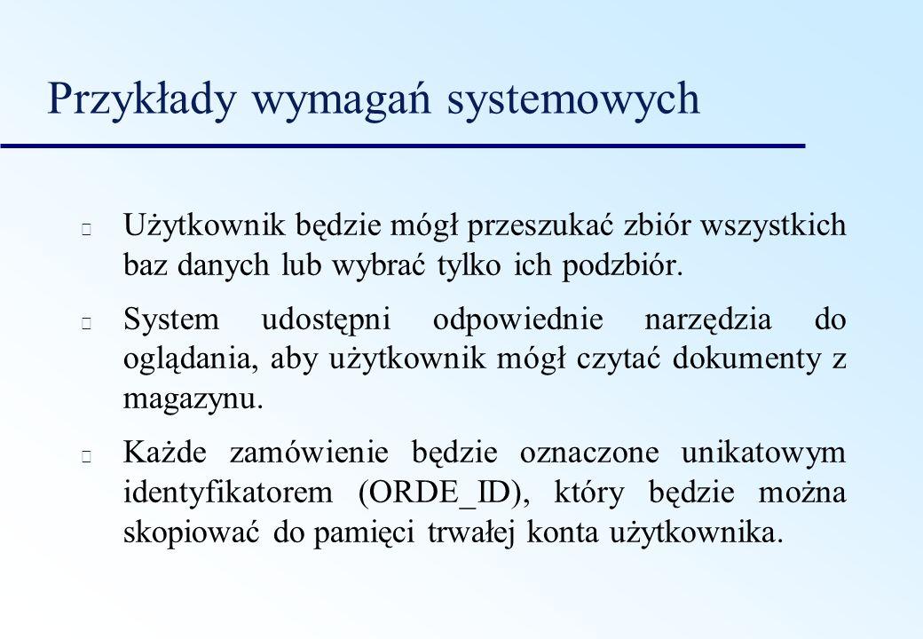 Przykłady wymagań systemowych