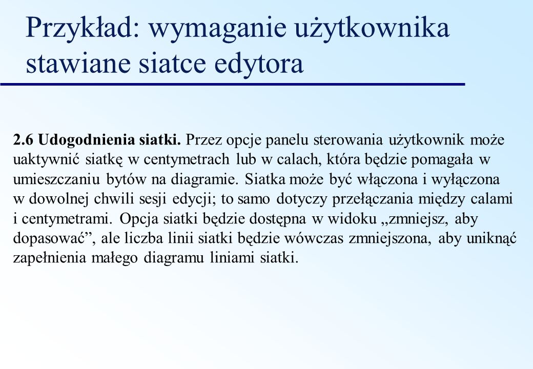 Przykład: wymaganie użytkownika stawiane siatce edytora