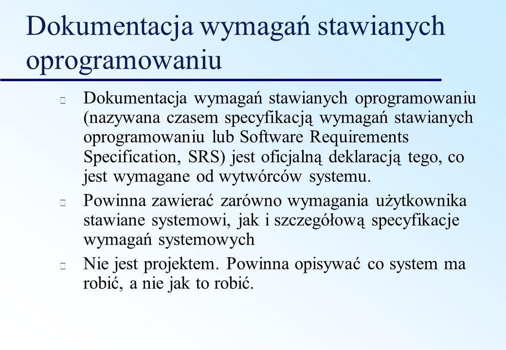 Dokumentacja wymagań stawianych oprogramowaniu
