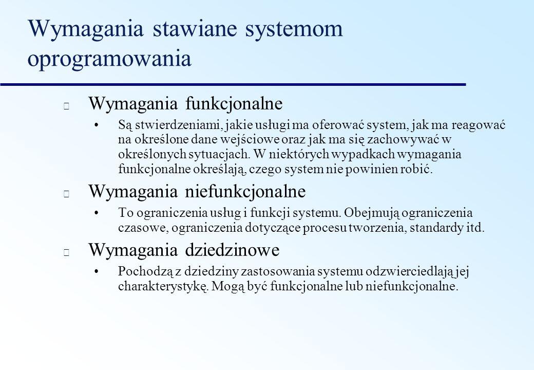 Wymagania stawiane systemom oprogramowania