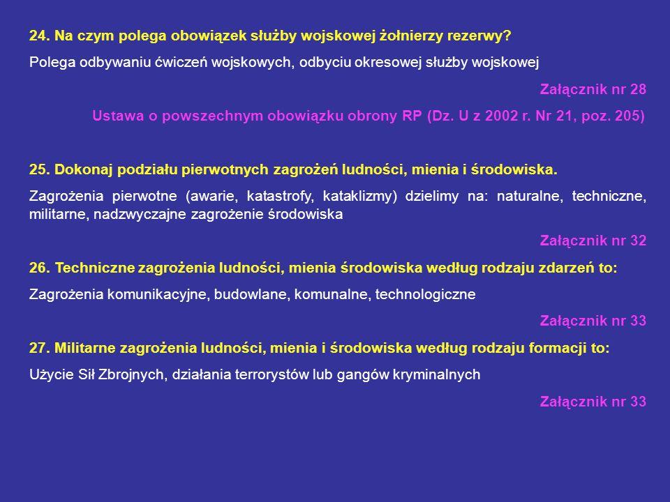 24. Na czym polega obowiązek służby wojskowej żołnierzy rezerwy